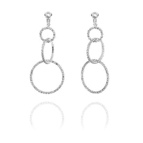 Park Lane Diamante Triple Hoop Clip On Earrings