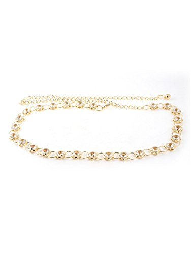 Plastic Crystal Inlaid Flower Design Waist Chain Belt Gold Tone