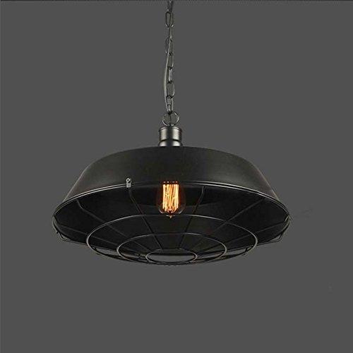 "Adjustable Industrial Edison Vintage Cage Pendant Light - LITFAD 10"" Classic Barn Metal Pendant Lighting Chandelier Mounted Light Fixtures Painted Finish 2"