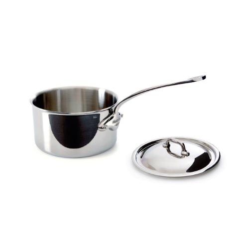 Mauviel M'Cook 5 Ply Stainless Steel 5210.17 1.9 Quart Saucepan With Lid, Cast Stainless Steel Handle