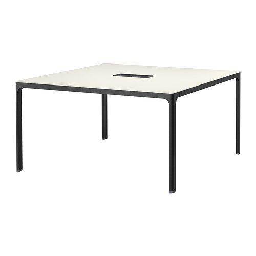 IKEA BEKANT - Mesa de conferencias, blanco, negro - 140x140 cm