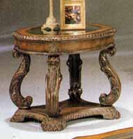 Image of Antique Finish Glass Top Carved End Table (B0005EHRKM)