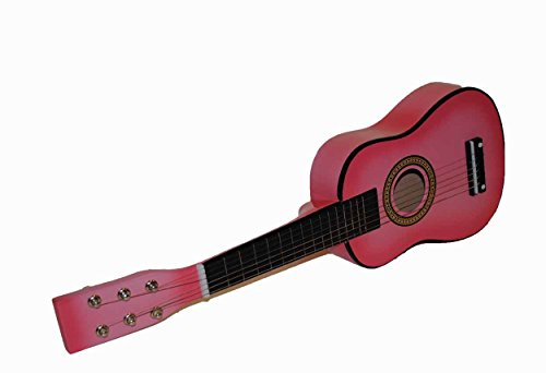 "New Mini Childrens Toy 23"" Acoustic Guitar with Pick & Extra Strings - Pink - 1"
