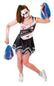 Ladies Zombie Cheerleader Black & White Halloween Fancy Dress Costume