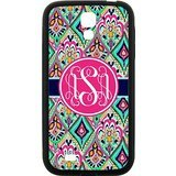 Personalized Gift Monogram Damask Pattern Vs Rose Initials Unique Custom Best Rubber Snap On Cover Case & Dust Plug for Samsung I9500 GALAXY S4 (Samsung S5 Mini Initial Covers compare prices)