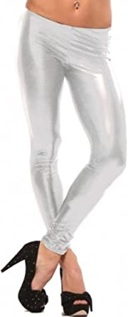 Hot & Sexy Metallic Liquid Wet Look Leggings Womens Shiny Pants , Medium, Metallic Light Silver