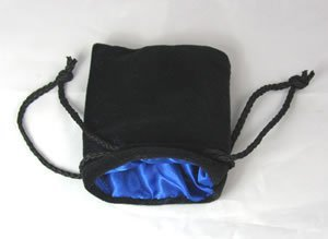 Blue Black Velvet Small Dice Bag