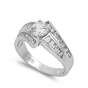 Sterling Silver Polished Engagement Promise Ring with Clear Cubic Zirconia Stones-size6