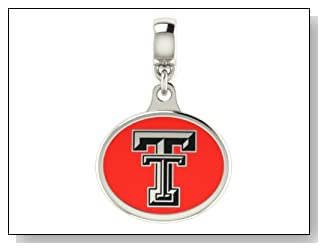 Texas Tech Red Raiders Collegiate Drop Charm Fits Most Pandora Style Bracelets Including Pandora Chamilia Zable Troll and More. High Quality Bead in Stock for Fast Shipping.