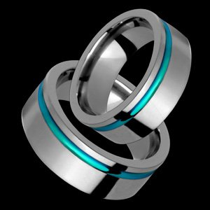 Bedelia - size 4.00 Titanium Wedding Band Set with Green Groove- Choose your Color for Free!