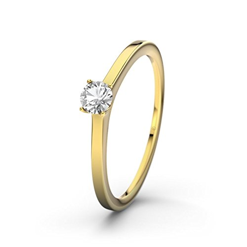 21DIAMONDS Laos Women's Ring Engagement Ring Round Brilliant Cut White Topaz 9ct Yellow Gold Engagement Ring