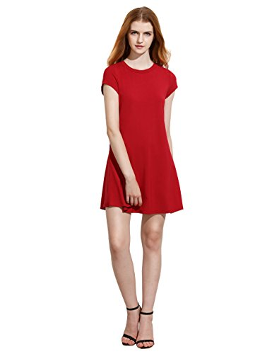 ROMWE Women's Short Sleeve Shirt Casual Swing Dress Red L