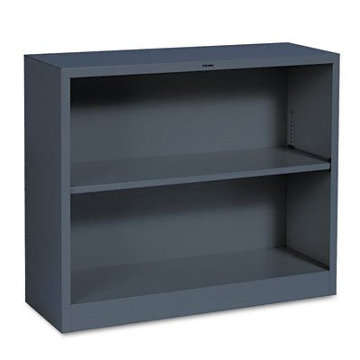 Metal Bookcase, 2 Shelves, 34-1/2w x 12-5/8d x 29h, Charcoal