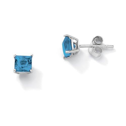 Sterling Silver Princess-Cut Birthstone Stud Pierced Earrings - March- Simulated Aquamarine