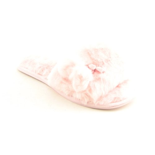 Cheap Charter Club Faux Fur Pom X Wide Slippers Slides X Wide Shoes Pink Womens (B005EI538W)