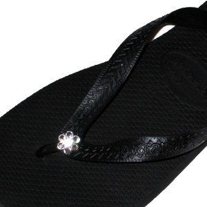 Cheap BLACK CLEAR FLOWER Swarovski Crystal Havaianas Flip Flops Sandals Thongs sizes 5-10 (B002XVYYTC)