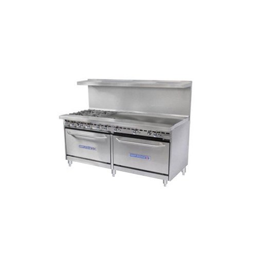 Natural Gas Bakers Pride Restaurant Series 72-BP-4B-G48-S30 4 Burner Gas Range with Two Standard 30&