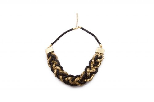 Blueberry Black & Gold Twisted Chain Necklace For Women