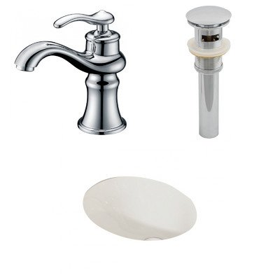 "American Imaginations AI-13139 CUPC Oval Undermount Sink Set with Single Hole CUPC Faucet and Drain, 19.25"" x 16"", Biscuit"