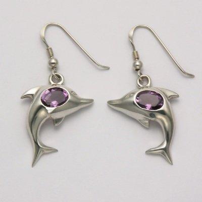 Amethyst Dolphin Earrings