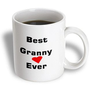 3Drose Mug_162446_1 Best Granny Ever With Heart Image Ceramic Mug, 11-Ounce
