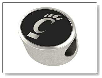 Cincinnati Bearcats Collegiate Bead Fits Most Pandora Style Bracelets Including Pandora Chamilia Biagi Zable Troll and More. High Quality Bead in Stock for Immediate Shipping