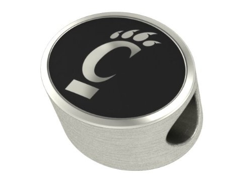 Cincinnati Bearcats Collegiate Bead Fits Most Pandora Style Bracelets Including Pandora, Chamilia, Biagi, Zable, Troll and More. High Quality Bead in Stock for Immediate Shipping