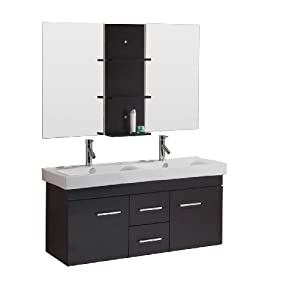 Virtu USA UM 3067 C ES Opal 48 Inch Wall Mounted Double Sink Bathroom Vanity