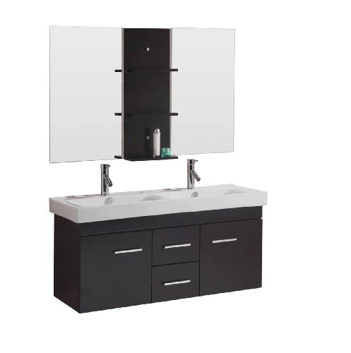 Virtu USA UM-3067-C-ES Opal 48-Inch Wall-Mounted Double Sink Bathroom Vanity with Integrated Ceramic Basins, Faucets, Espresso Finish