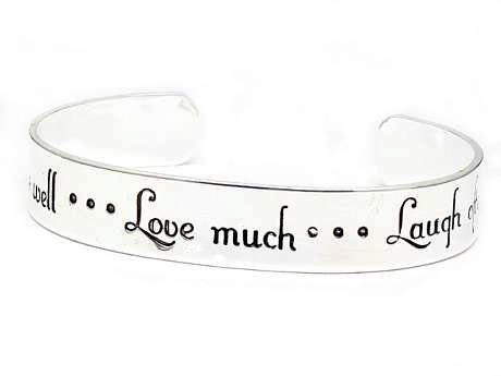 Inspirational Message Silver Tone Metal Cuff Bracelet