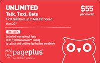 Page Plus nano SIM Preloaded with $55 First Month 5 GB 4G-LTE, Unlimited Talk, Text and International Text compatible with Verizon Wireless LTE Phones