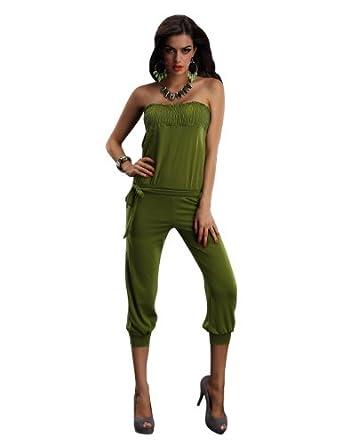 Xueyi Women's Jumpsuits Slim Leisure Clothing Brightness Stars (One Size, Army Green)