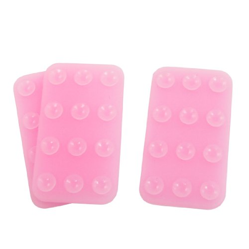 uxcell Mobile Remove Suction Cup Rectangle Foot Sucker Holder Light Pink 3pcs