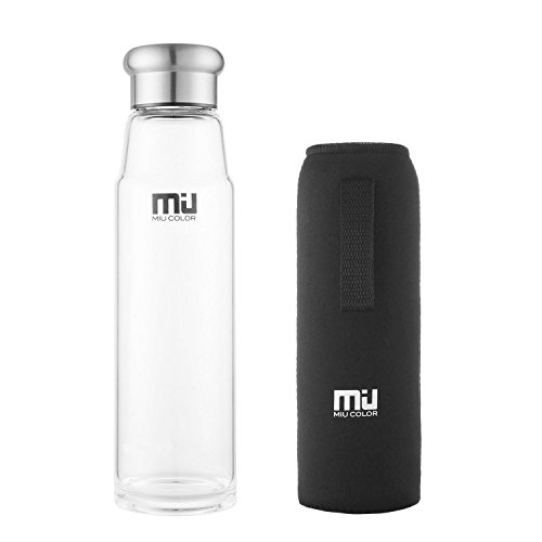 MIU COLOR® 24.5 oz Glass Water Bottle - Eco-friendly Borosilicate Glass, BPA, PVC and Lead Free, Portable with Nylon Sleeve, for Outdoor, Running, Bike, Car, Yoga, Office (Glass Water With Filter compare prices)