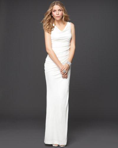 Bebe Boatneck Asymmetric Jersey Drape Dress   Rami Kashou MARSHMELLOW