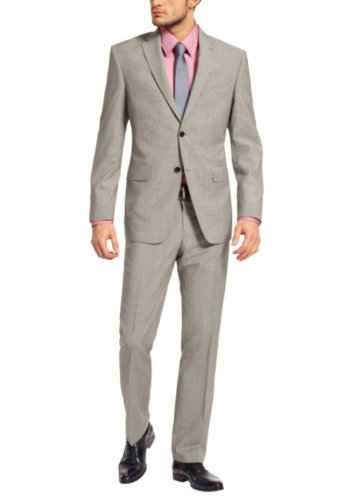 Honeystore Men'S Ventless Back Jacket With Pants Color Grey Size Large front-172497
