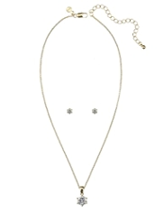 M&S Collection Gold Plated Diamanté Necklace & Earrings Set