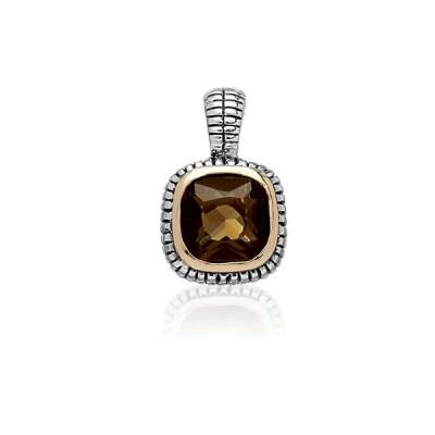 New Necklace Pendant Jewelry 925 Sterling Silver Center Square Brown Topaz CZ w/ Surrounding GP Line and Black Finish Design(WoW !With Purchase Over $50 Receive A Marcrame Bracelet Free)