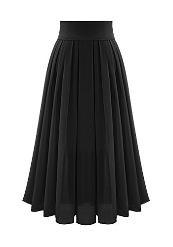 Qiaonier-Womens-Chiffon-Flowing-Fairy-Solid-Color-Vertical-Stripe-Long-Skirt