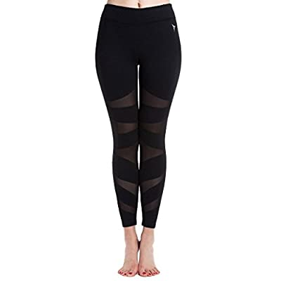 Beepeak Women's Long Mesh Sports Workout Tights Running Gym Active Yoga leggings