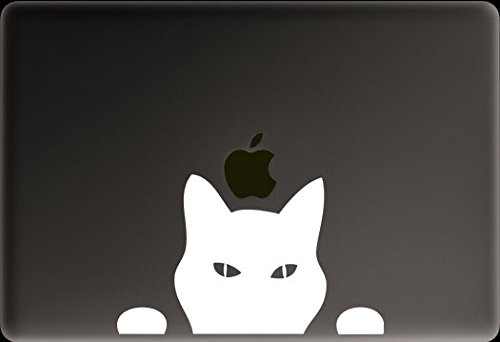 Cat Peeking Decal Vinyl Sticker|Cars Trucks Vans Walls Laptop|WHITE|5.5 in|CCI364 (Zombie Laptop Decal compare prices)