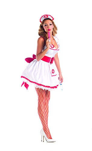 [Party King Women's Naughty Nurse Sexy 4 Piece Costume Set, White/Red, Small] (Womens Nurse Halloween Costumes)
