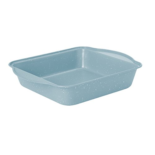 "Baker's Advantage Non Stick Square Cake Pan Spatter, 0.4mm/8"", Light Blue"