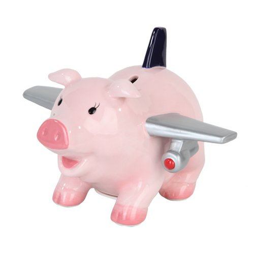 6.50 Inch Ceramic Airplane Pig Savings Piggy/Coin/Money Bank