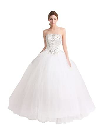 Artwedding Artwedding Strapless Satin and Tulle Wedding Ball Gown w Rhinestone and Applique, Ivory, S4