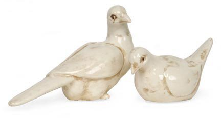 Antique Cream Pair Delilah Ceramic Dove Bird Table Top Figures by CC Home Furnishings