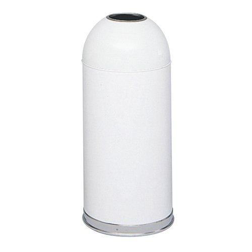 Safco(R) Dome-Top Receptacle With Open Lid, 15 Gallons, White