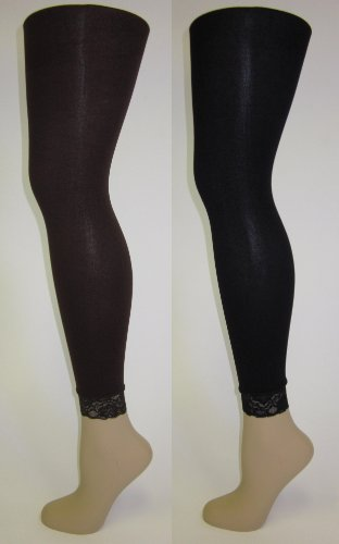 Womens Solid Color Footless Tights with Lace - 2 Pack - Colors Available