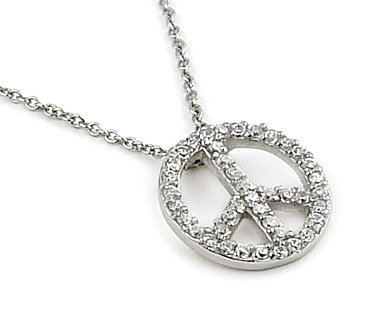 Sterling Silver CZ Peace Sign Pendant Necklace 16