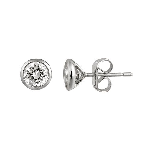 Sterling Silver Bezel Martini Set Cubic Zirconia Solitaire Earrings